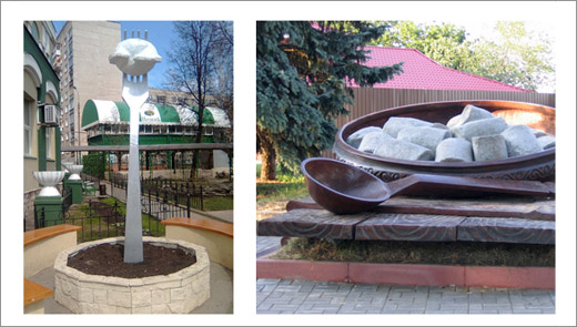 Monuments to pelmeni in Izhevsk and Poltava