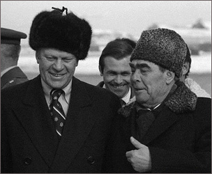 Brezhnev (on the right) wearing ushanka