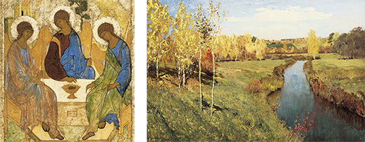 "Andrey Rublev 'The Trinity"",    Isac Levitan ""Golden Autumn"""