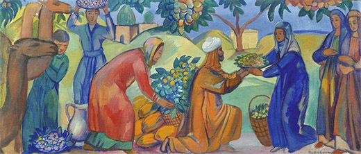 Gathering fruits Asian market, 1913-1914