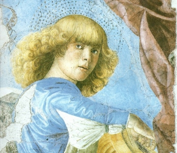 Melozzo da Forlì. Angel playing lute. 1480