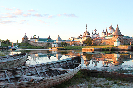 Sunset view of Solovetsky monastery