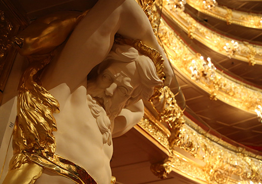 The Historic stage of the Bolshoi Theatre in Moscow