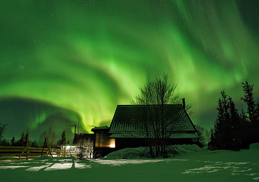 Northern lights at the premises of the Lovozero guest house