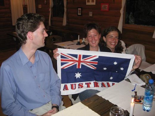 Me, Josie (Australia) and Dan (the UK) in a bar