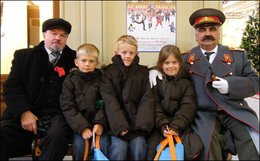 Jack, Sam and Kathryn with Lenin and Stalin