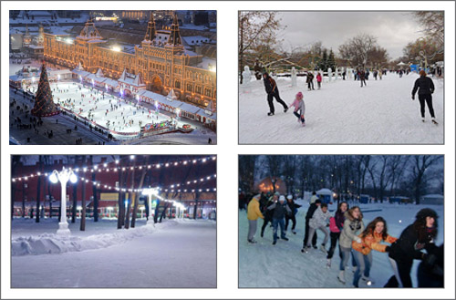 Skating rinks on Red square, Gorky park and Hermitage Garden