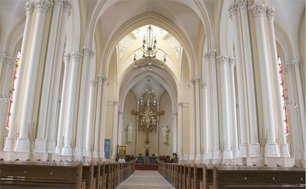 The interior of the cathedral of the Immaculate Conception of the Holy Virgin Mary