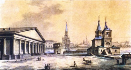 M. Vorobjov. The view of Manege, Kutafia tower and the church of St. Nickolas, Moscow, 1917